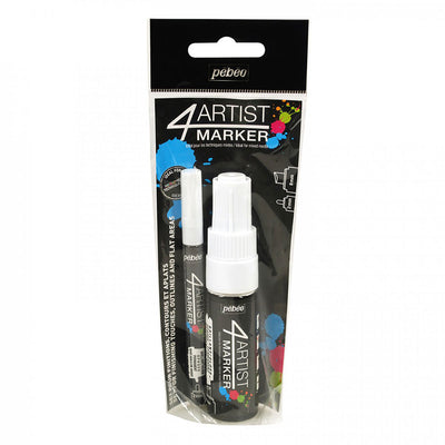 Pebeo 4Artist Set Of 2 WHITE Markers (2mm & 8mm nibs)