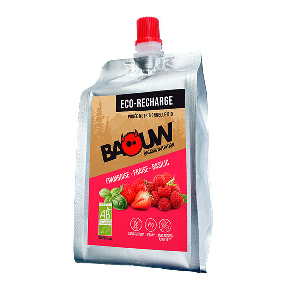 Nutri-bay | BAOUW Eco-Refill Organic Energy Puree (330g) Raspberry-Strawberry-Basil