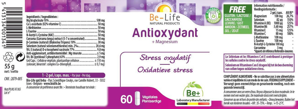 Nutri-Bay Be-Life Antioxydant (60 gélules) - Label