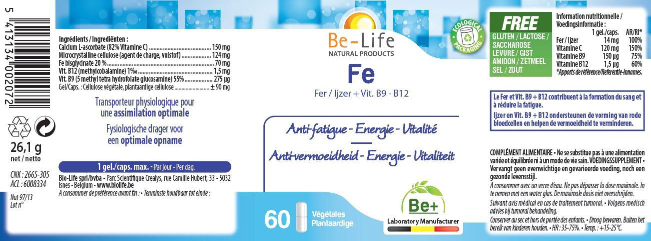 Nutri-Bay Be-Life FE (Fer + vitamine B9 - B12) (60 Gélules) - label