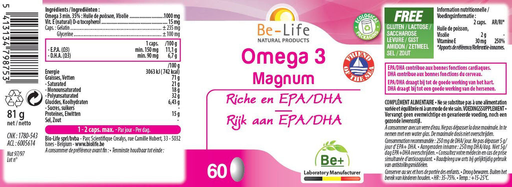 Nutri-Bay Be-Life Omega 3 Magnum (60 Gélules) - Label
