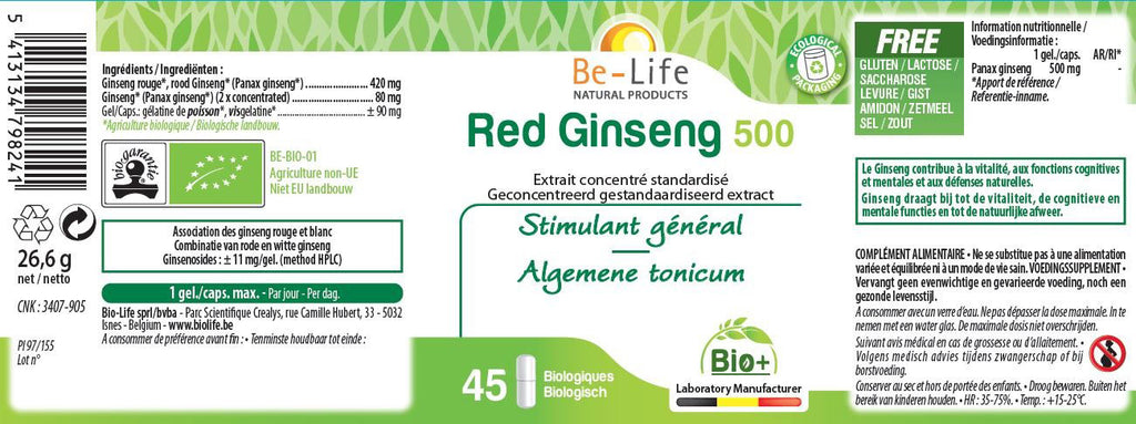 Nutri-Bay Be-Life Organic Red Ginseng 500 (45 Capsules) - label