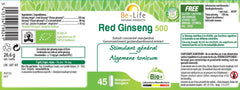Nutri-Bay Be-Life Red Ginseng 500 BIO (45 Gélules) - label