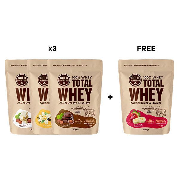 Nutri-Bucht | GoldNutrition - Total Whey Discovery Pack 3 + 1 Gratis