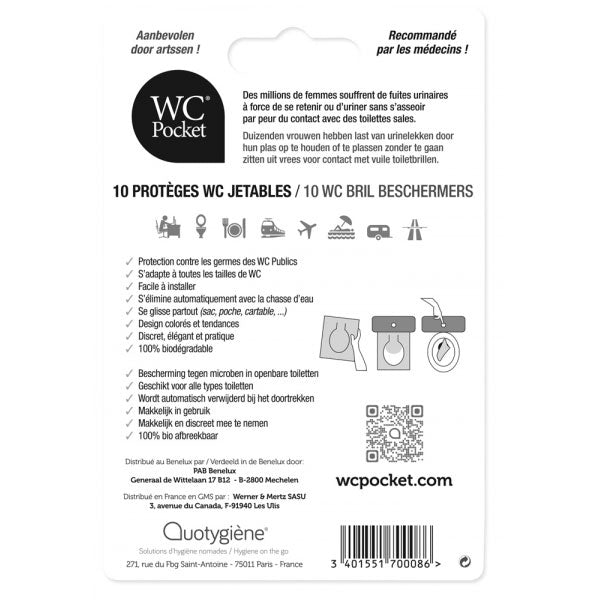 Nutri-Bay Quotygiène WC Pocket Adulte - 10 Protèges WC Jetables - back
