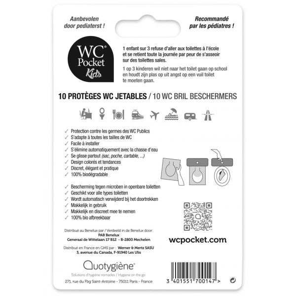 Nutri-Bay Quotygiène WC Pocket Kids - 10 Protèges WC Jetables - back