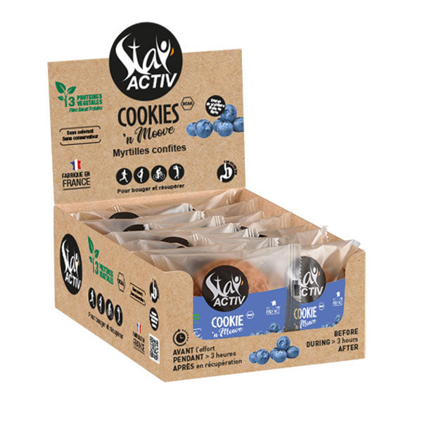 Nutri-Bay | STAY'ACTIV - Vegan Protein Cookie (30g) - Candied Blueberries - Box