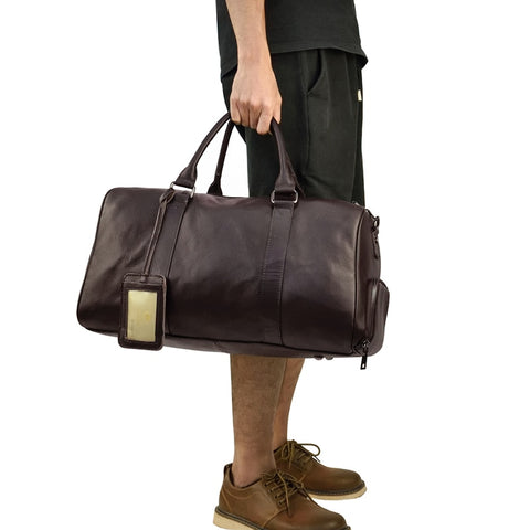 Vintage Style Soft Genuine Leather Large Capacity Duffel Bags