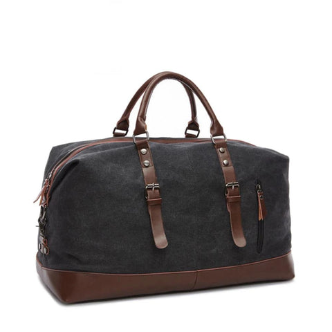 Canvas Leather Overnight Carry On Travel Bag