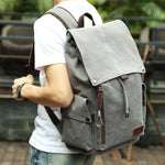 Large Vintage Style Canvas Backpack w/ USB Port