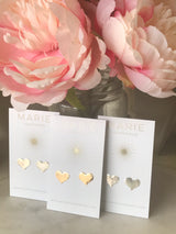 Solid Hammered Heart Studs