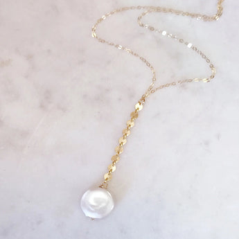 Coin Pearl Sparkle Lariat