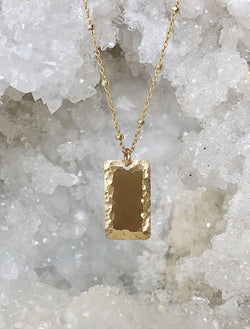 Beveled Rectangle Drop Necklace
