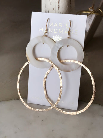 Mother of Pearl Interlocking Hoops