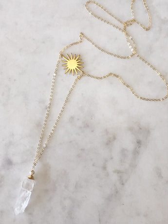 Sunburst + Quartz Lariat