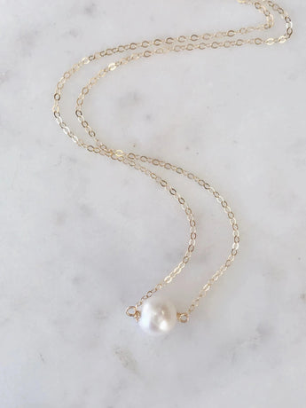 Floating Freshwater Round Pearl Necklace