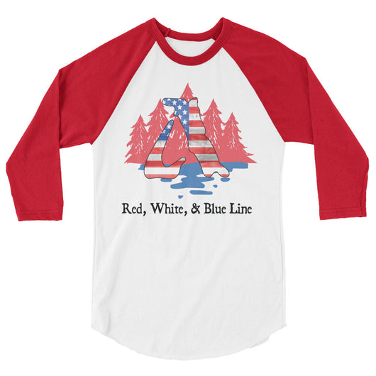 Red, White, & Blue Line - 3/4 sleeve tee