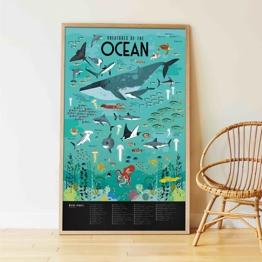 Animals of the Oceans Sticker Activity Poster by Poppik