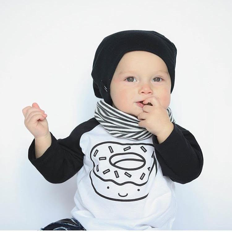 Kawaii Donut Baby + Kids Baseball Tee