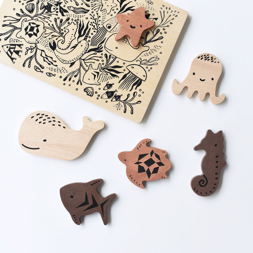 Ocean Animals Wood Puzzle by Wee Gallery