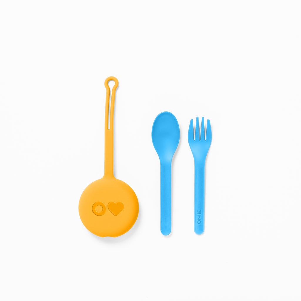 OmieBox Kids Utensils Set with Case - 2 Piece Plastic, Reusable Fork and Spoon Silverware with Pod for Kids, Travel, Lunch Boxes