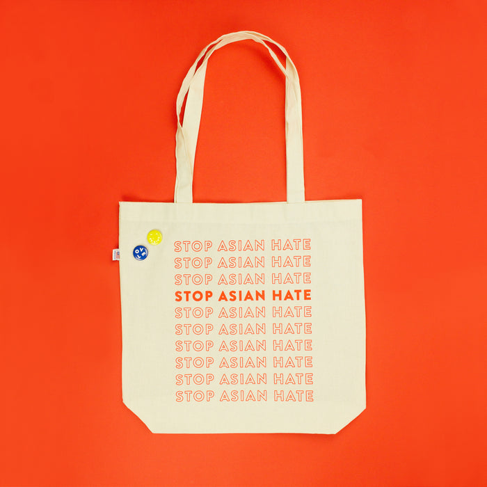 PREORDER Amanda Jane Jones X Mochi Kids Stop Asian Hate Tote Bag + Pins