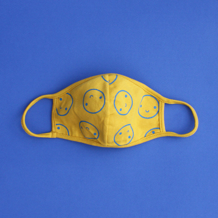 Mustard and Blue Happy Mask