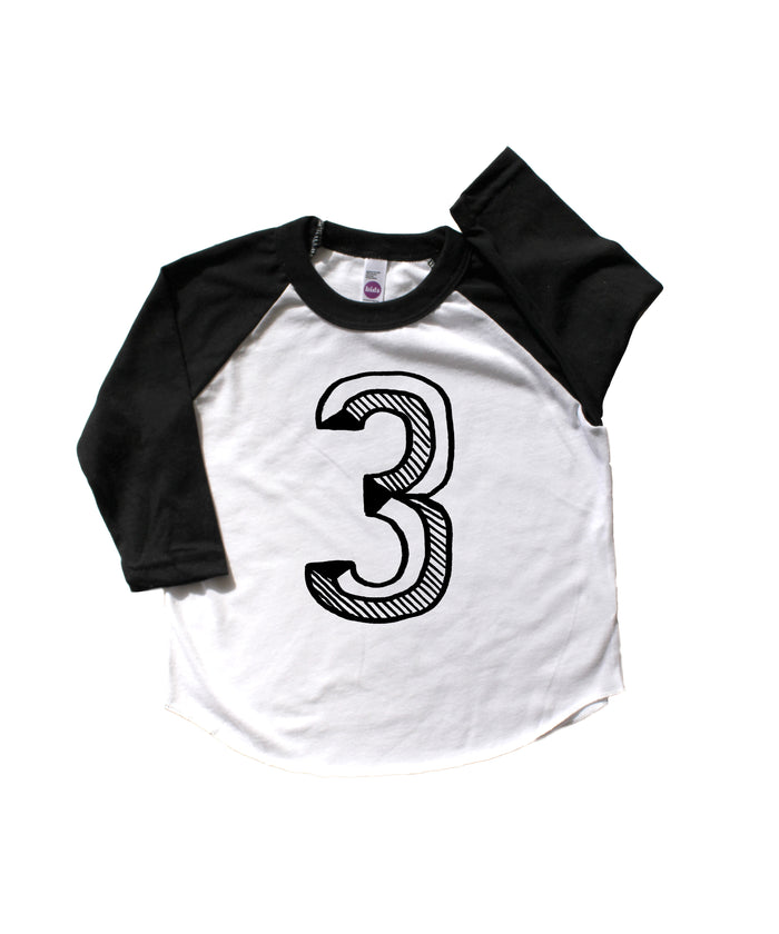 Number 3 Third 3rd birthday kids baseball tee shirt Mochi Kids