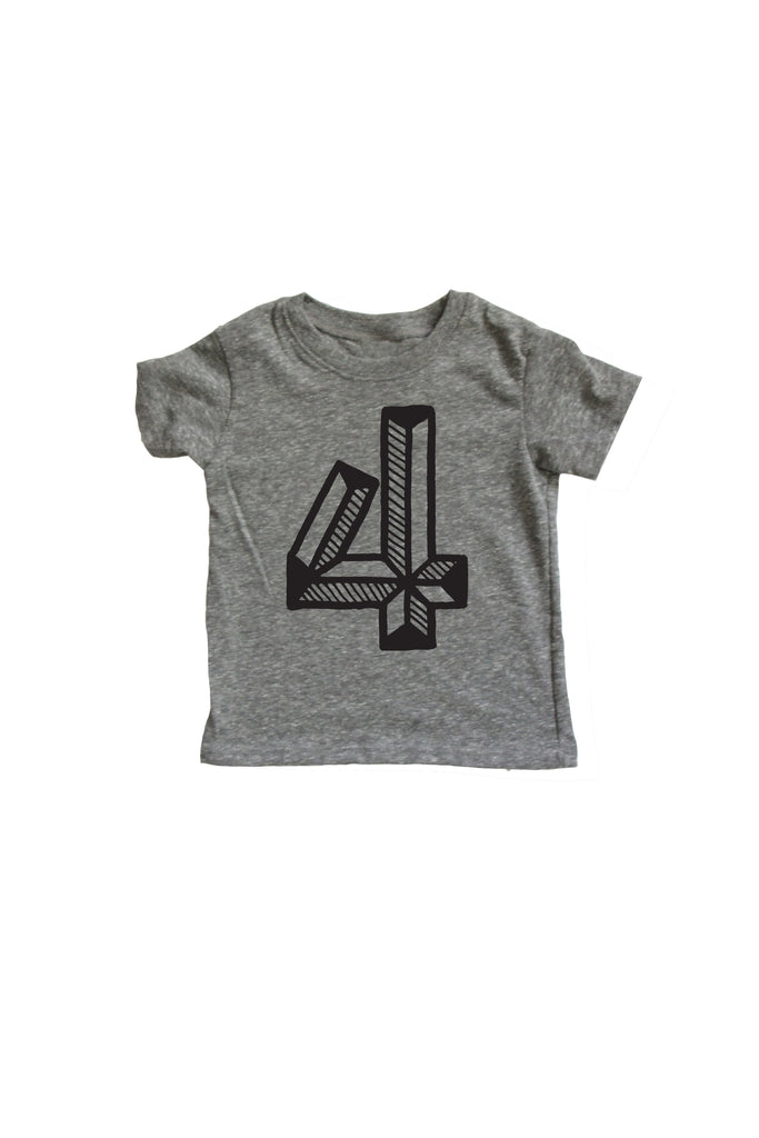 Number 4 Fourth 4th birthday kids shirt Mochi Kids