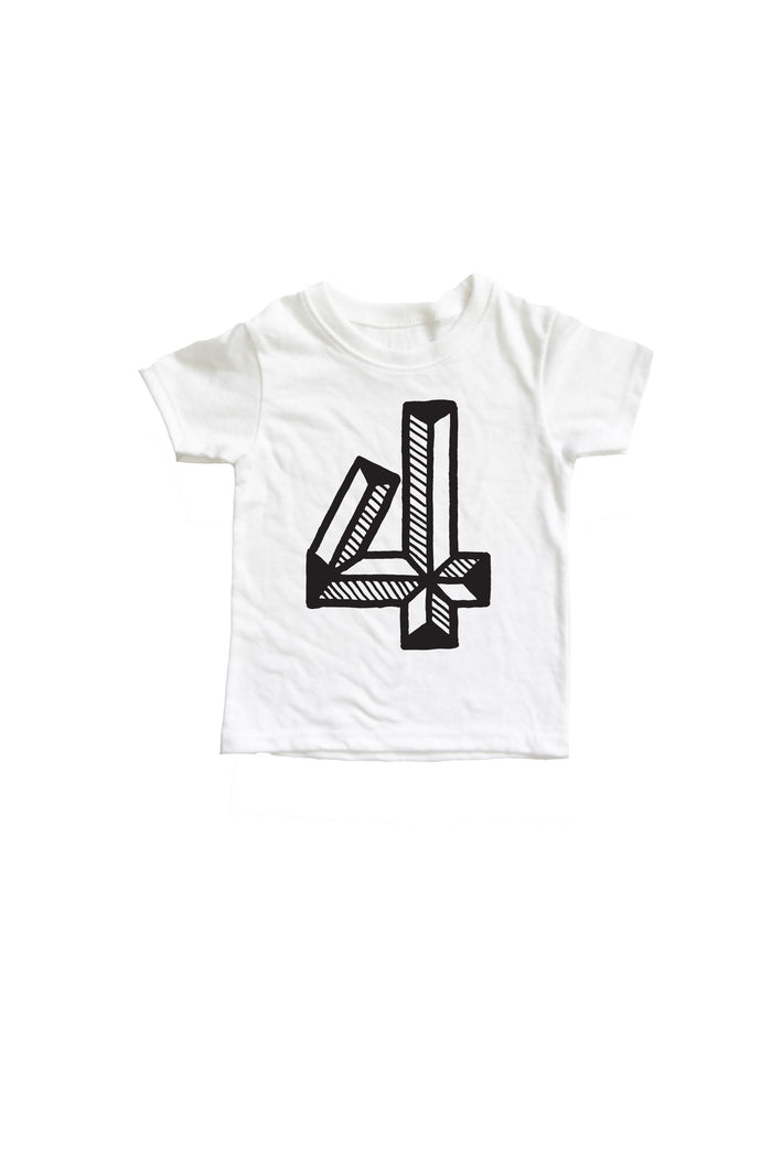 Number 4 Fourth 4th birthday kids shirt