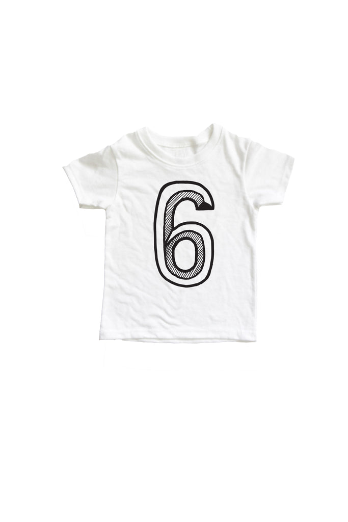 Number 6 6th Sixth Birthday Kids Tee Shirt Mochi Kids