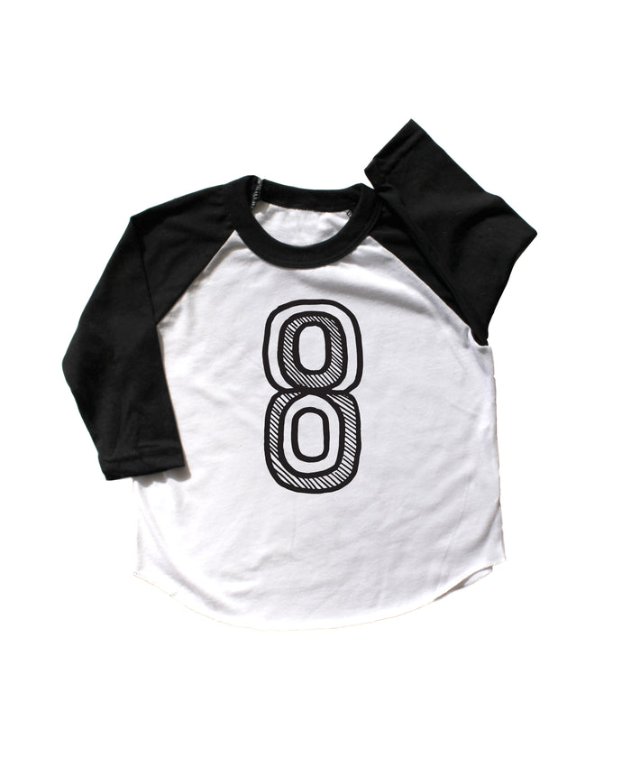 Number Eight Baseball Tee