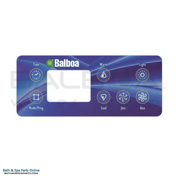 Balboa 7-Button Serial Deluxe LCD Topside Panel Overlay [Aux/No Blower] (10841)