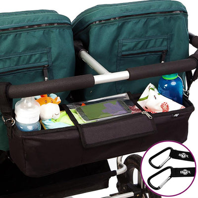 BTR Pram Buggy Organiser For Twin Double Buggies & 2 Pram Hooks