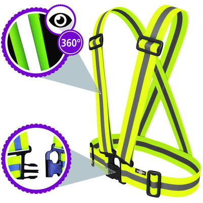 High Visibility bright Yellow clothing sash for children. Shown with 60 reflect & visibility