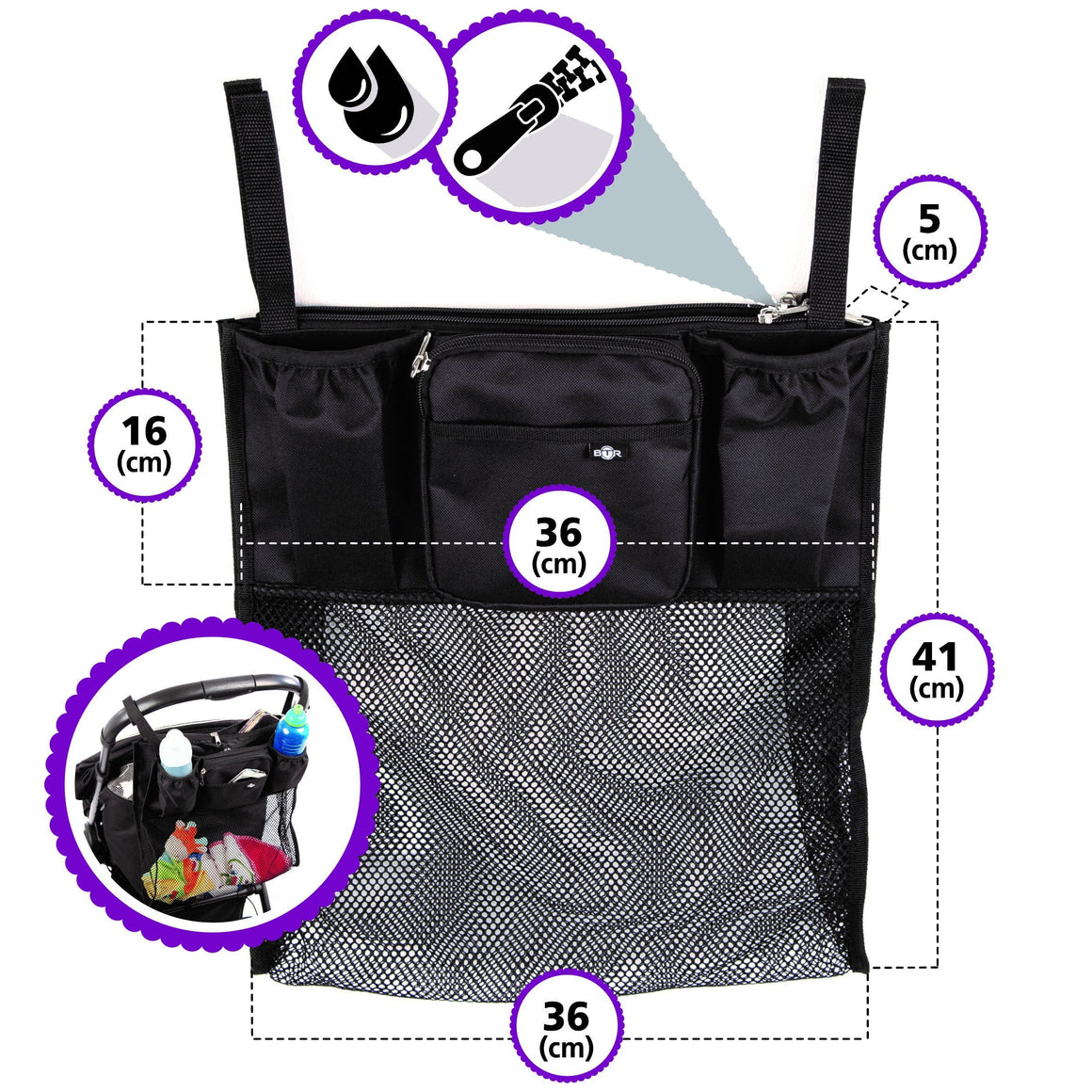 BTR Slimline Pram Buggy Organiser Storage with Shopping Net