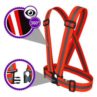 BTR Sash / Vest in Bright Orange hi vis - showing 360 reflective and visibility
