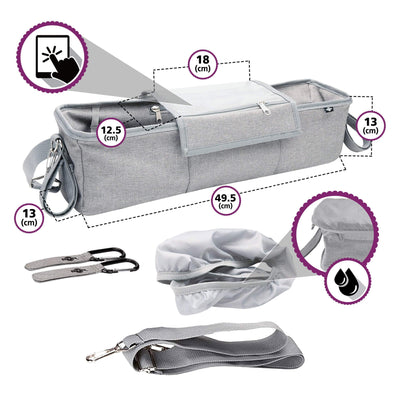 BTR Buggy Organiser Pram Bag For Twin Double Buggies & Pram Hooks.Grey