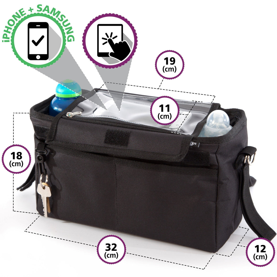 BTR Pram Buggy Organiser Storage Bag With Phone Pocket & Pram Hooks