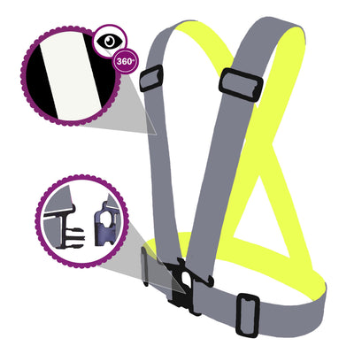 Brigh reflect high viz sash / vest for children - shows it glowing bright in the dark