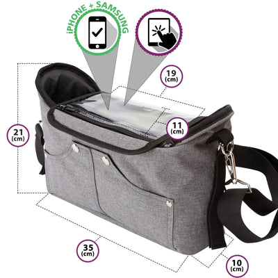 BTR Grey Buggy Organiser Bag With 2 Pram Clips and Mobile Phone Holder