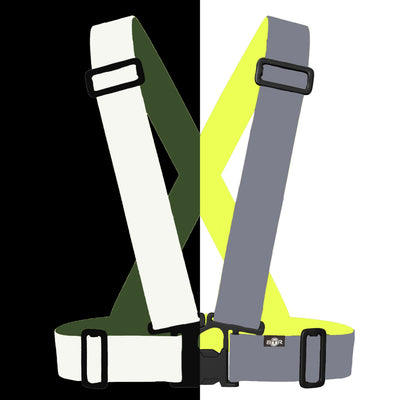 Bright reflective Be Totally Reflective high Vis Sash / Vest for kids high vis safety - shown split dark & light