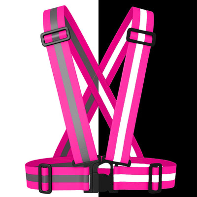 BTR Hot Pink Sash for Children - bright pink with silver reflective strip. Shown split screen in dark & light to show high viz