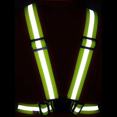 Hi Vis Sash shown in yellow being worn so it glows in the dark for visibility & safety