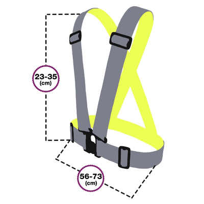 Sizing fo BTR Children size high vis clothing sash - in silver for maximum reflective