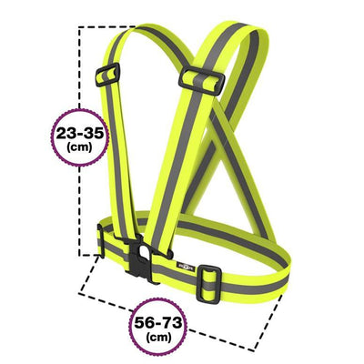 High Vis yellow childrens running sash / vest - fab for cycling etc. shown with measurements as it expands