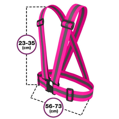 BTR Hot Pink Sash for Children - bright pink with silver reflective strip. Sizing for kids