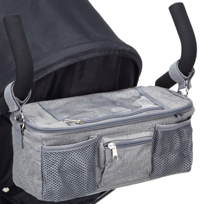 BTR Pram Buggy Organiser Bag With Waterproof Cover Plus 2 Pram Hooks