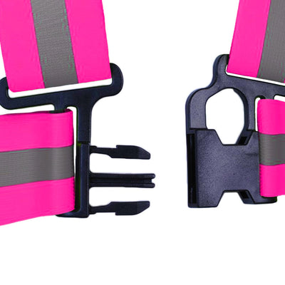BTR kids High Visibility Sash / Vest shown the fasten clip up close