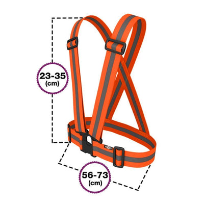 Sash High Vis size guide for kids - from BTR - expands sizing as elasticated
